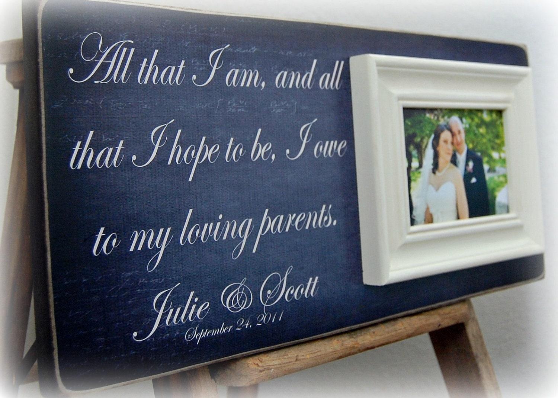 Wedding Gifts Parents Bride Groom : Wedding Gift Parents Bride Groom Mother Father Shower Sign Frame 8x20 ...
