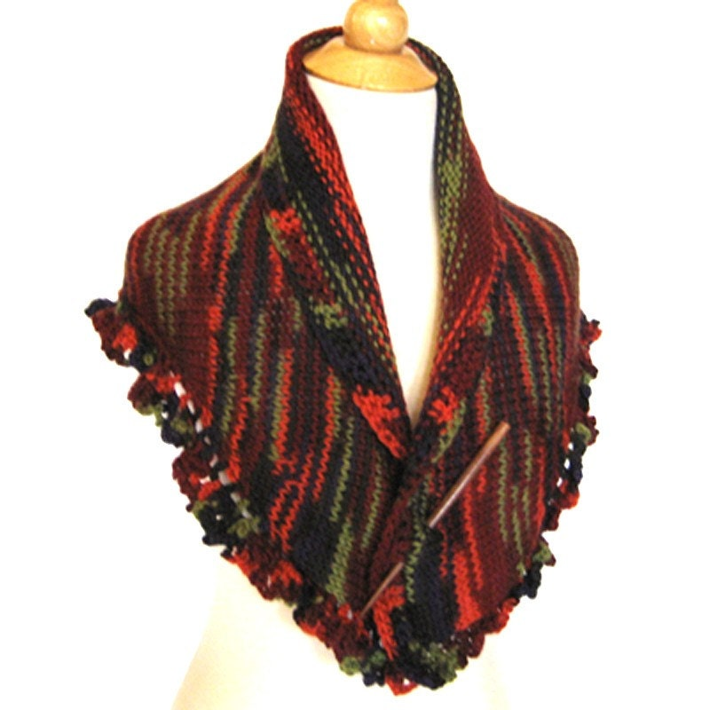 Forest Foliage Handknit Shawl -  Merino Wool Wrap Cape - Fall Fashion Gift