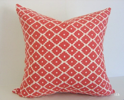 "F. Schumacher Ziggurat / 20"" x 20"" / RUBY RED Pillow Cover / Decorative Pillow / Designer Fabric / Toss Pillow"