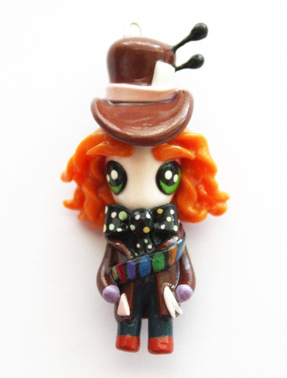 FREE SHIPPING - Mad Hatter - Alice in Wonderland - Miniature Sculpture - Charm Necklace