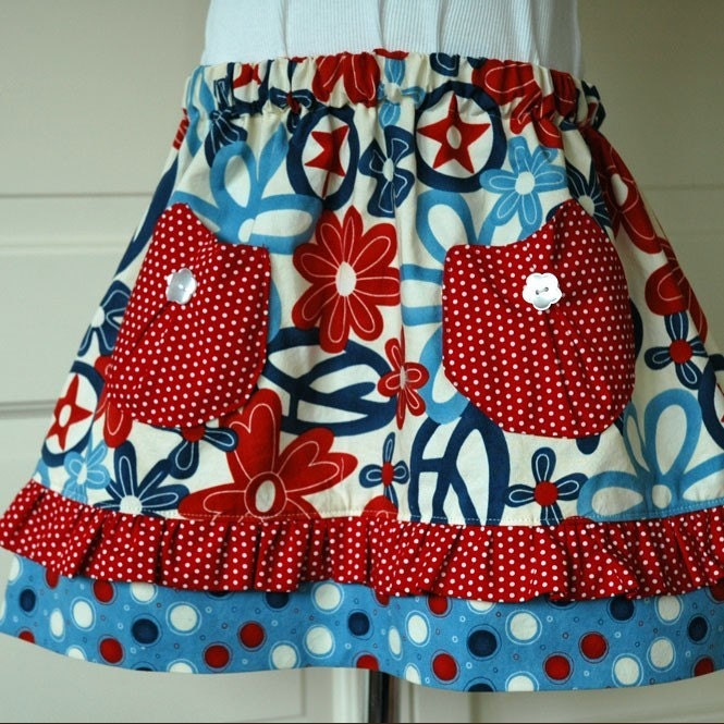 SAMPLE SALE  Red, White and Blue Peace and Stars Clementine Skirt SIZE 2T - 4T