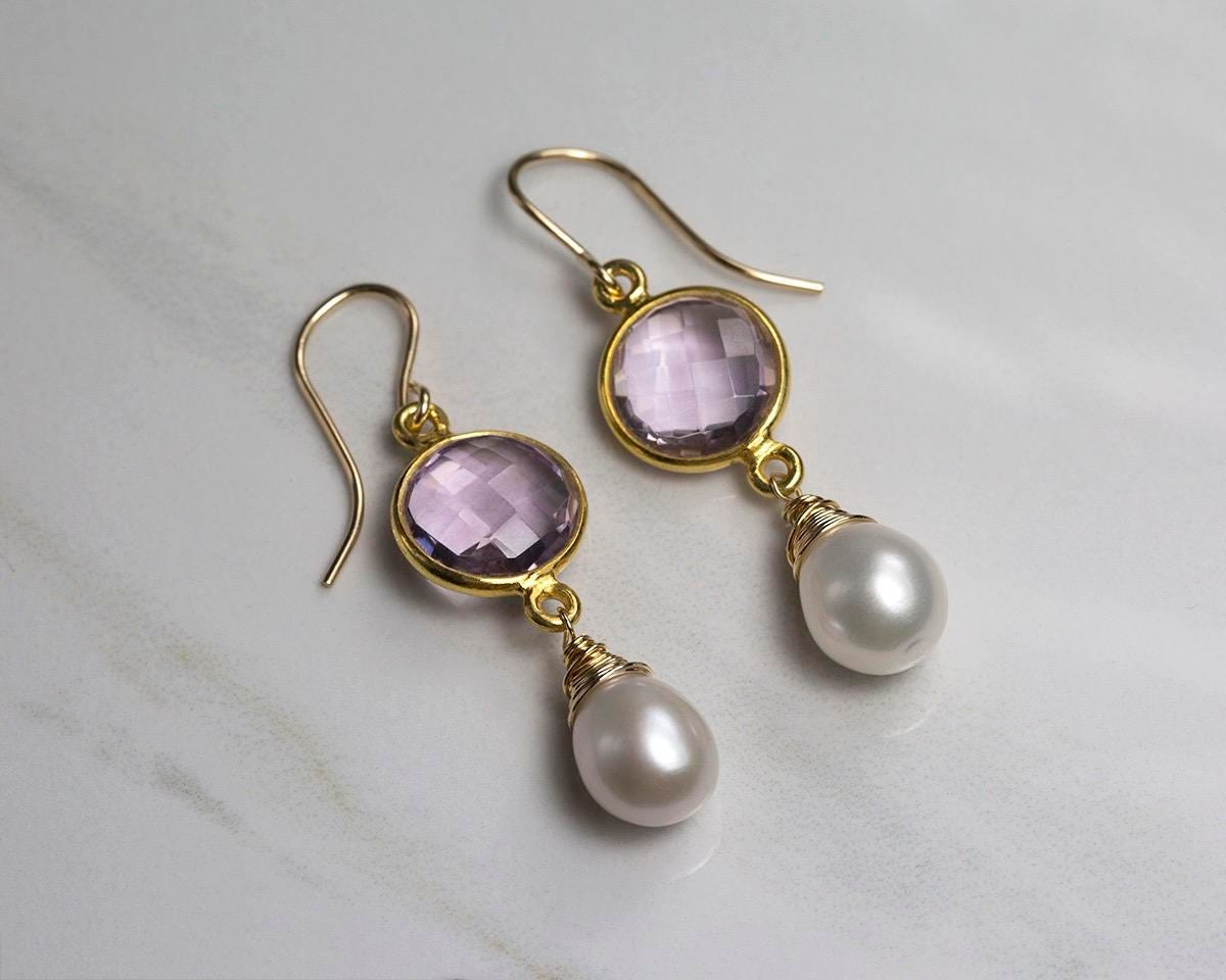 Pink amethyst earrings lilac earrings pearl drop earrings lilac wedding jewellery pearl dangle earrings bridesmaid  Amy