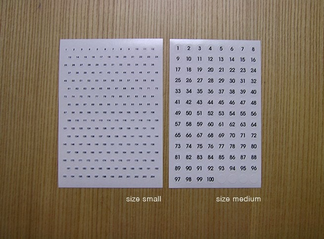 Numbering Sticker Dots - small (4sheet)