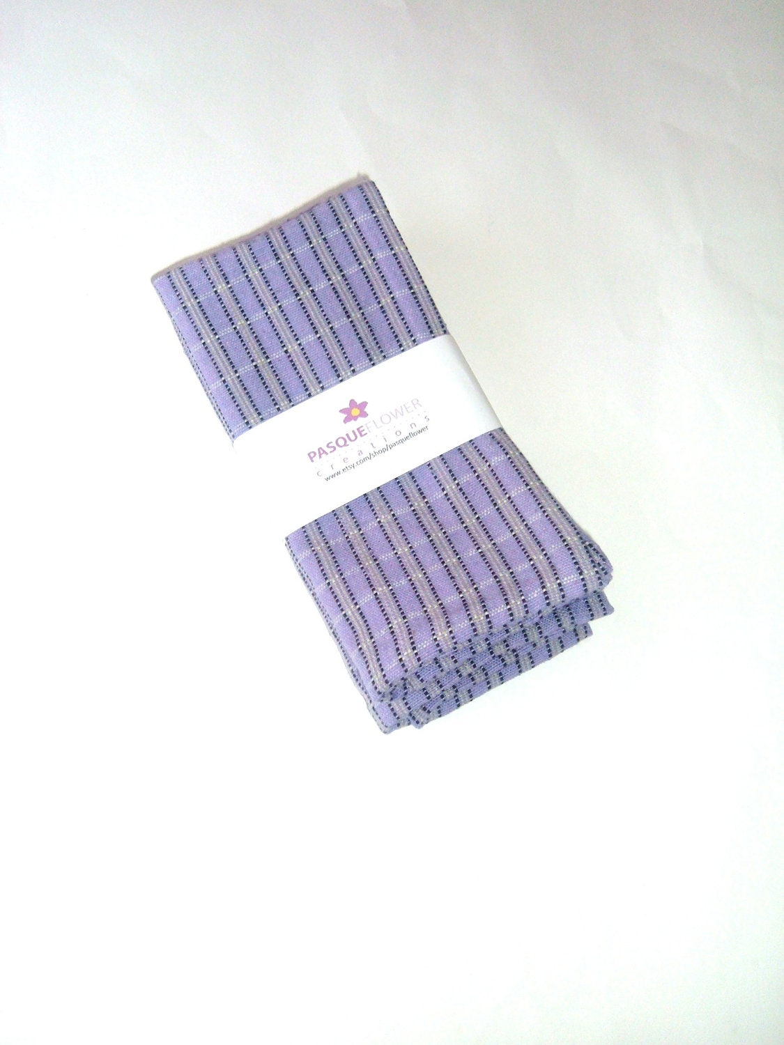 Cloth Napkins - Set of Two - Purple Plaid - Handwoven Guatemalan Cotton - pasqueflower