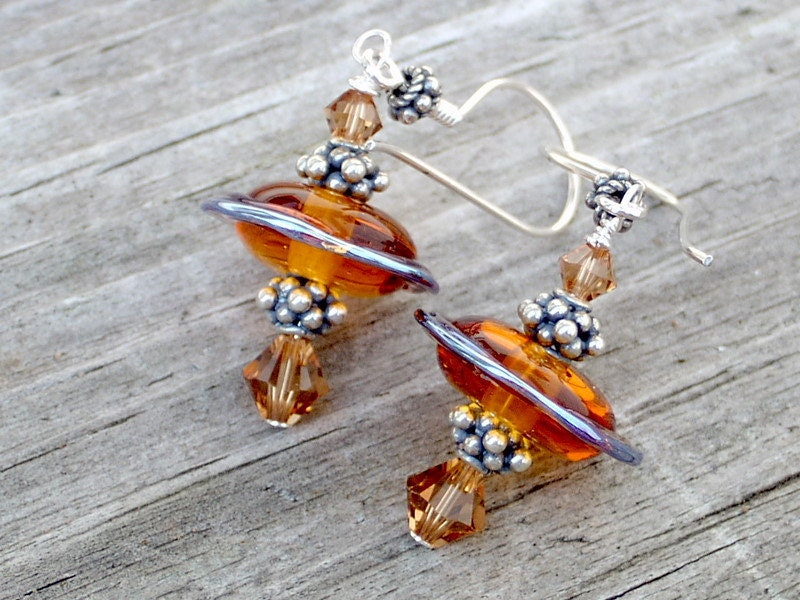 Organic Shaped Lampwork Bead Crystal Sterling Silver Earrings - Fall Leaves