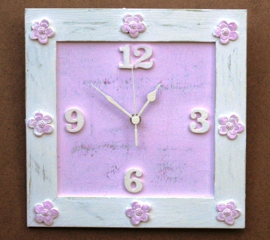 Creamy Pink Shabby Chic Wall Clock by tammnoony on Etsy