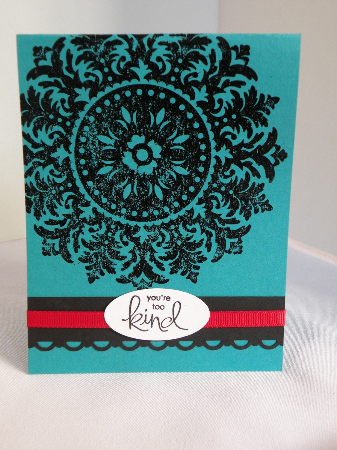 Turquoise and Black Embossed Thank You Card