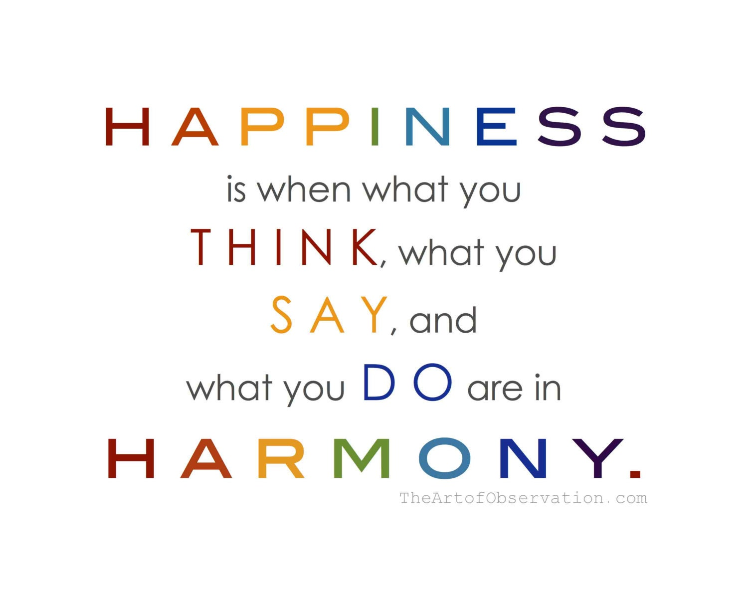 Happy Quote about life, rainbow typography print - theartofobservation