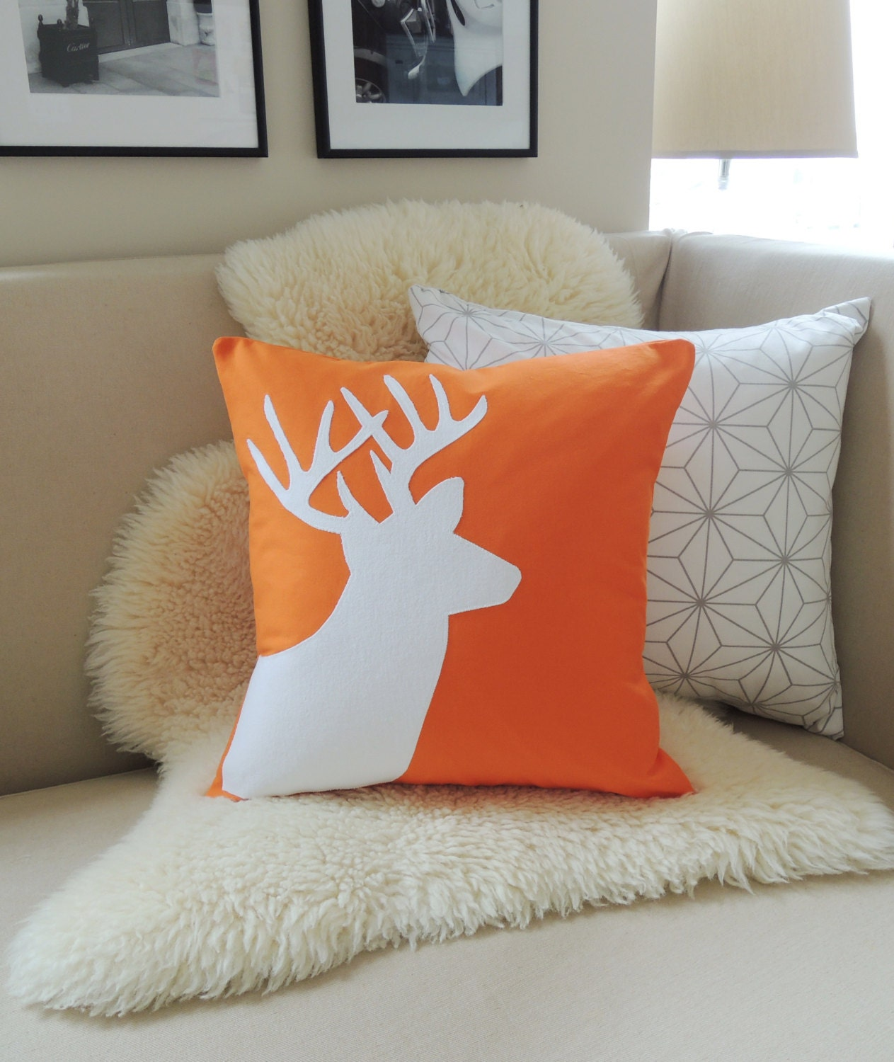 Modern Moose Pillow : Deer Pillow Cover Orange & White Stag Antlers by VixenGoods