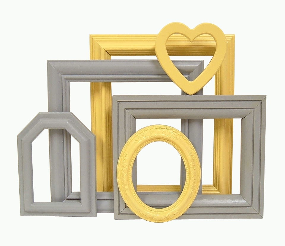 picture frame set yellow and gray spring by. Black Bedroom Furniture Sets. Home Design Ideas