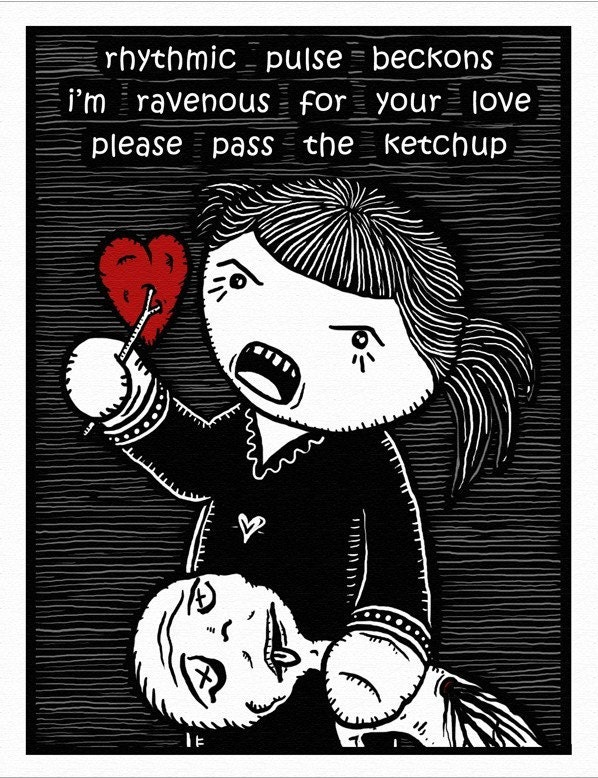 Passion Haiku - GingerDead Goth / Alt Greeting Cards w/ Envelopes (5 PACK)  - Valentine / Anti-Valentine / Love