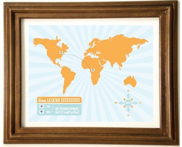 CUSTOMIZABLE Long Distance Map Love 8x10 Graphic Print