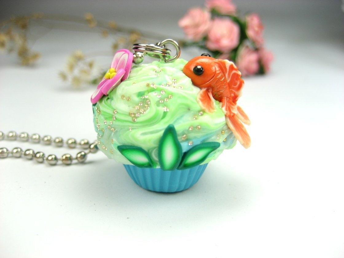 Goldfish Cupcake Necklace