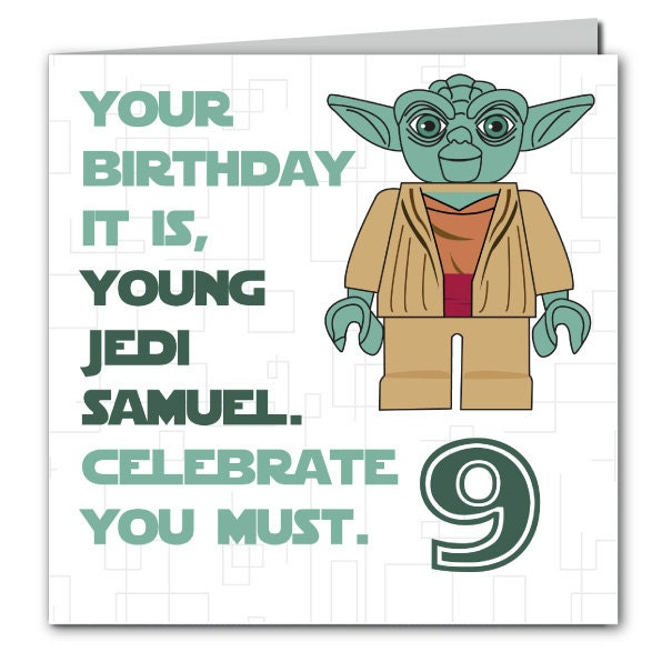 Personalised Star Wars Yoda Birthday Card. Age By