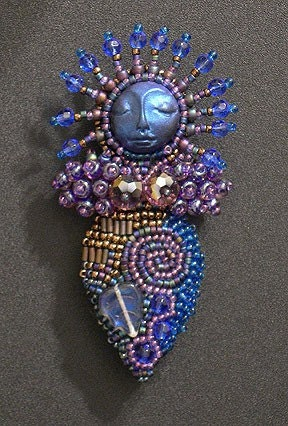 Midnight Blue Beaded Goddess Lady Pin