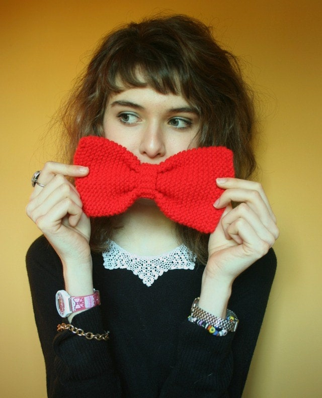 Large handknitted red hair bow or neck piece