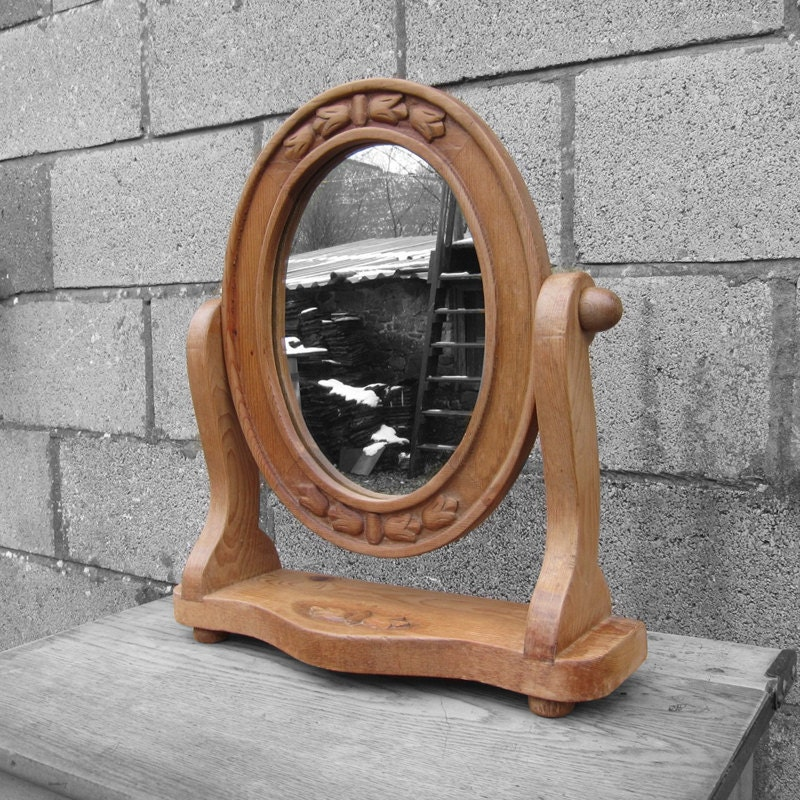 Dressing Table Mirror  Antique Rustic Wooden Pine