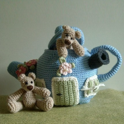 PDF Crochet Pattern - Little Bears and their Teapot House