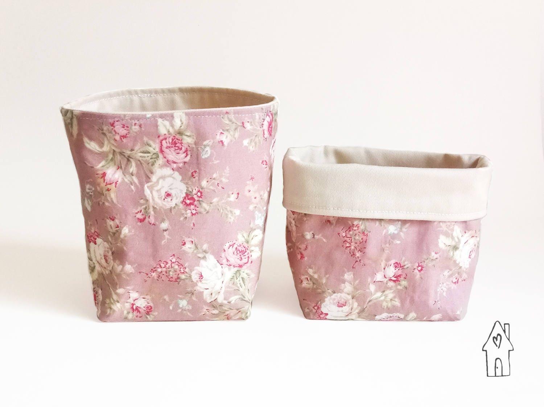 Small Storage Basket Makeup Organiser Desk Tidy MakeUp Brush Holder Pen Pot Tiny Fabric Basket Pink Floral Cotton Old Flour House