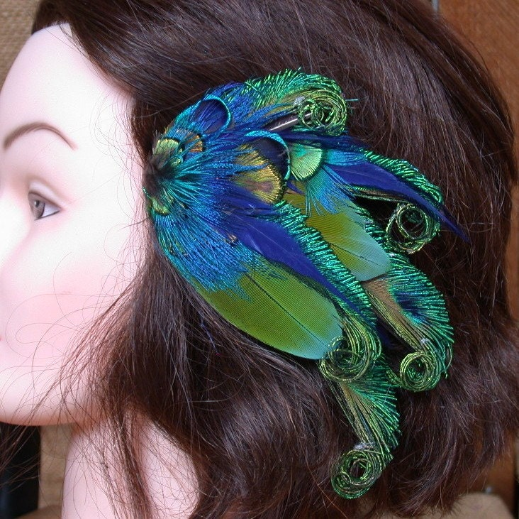 Beautiful Peacock and Parrot Feather Barrette- Hair Clip