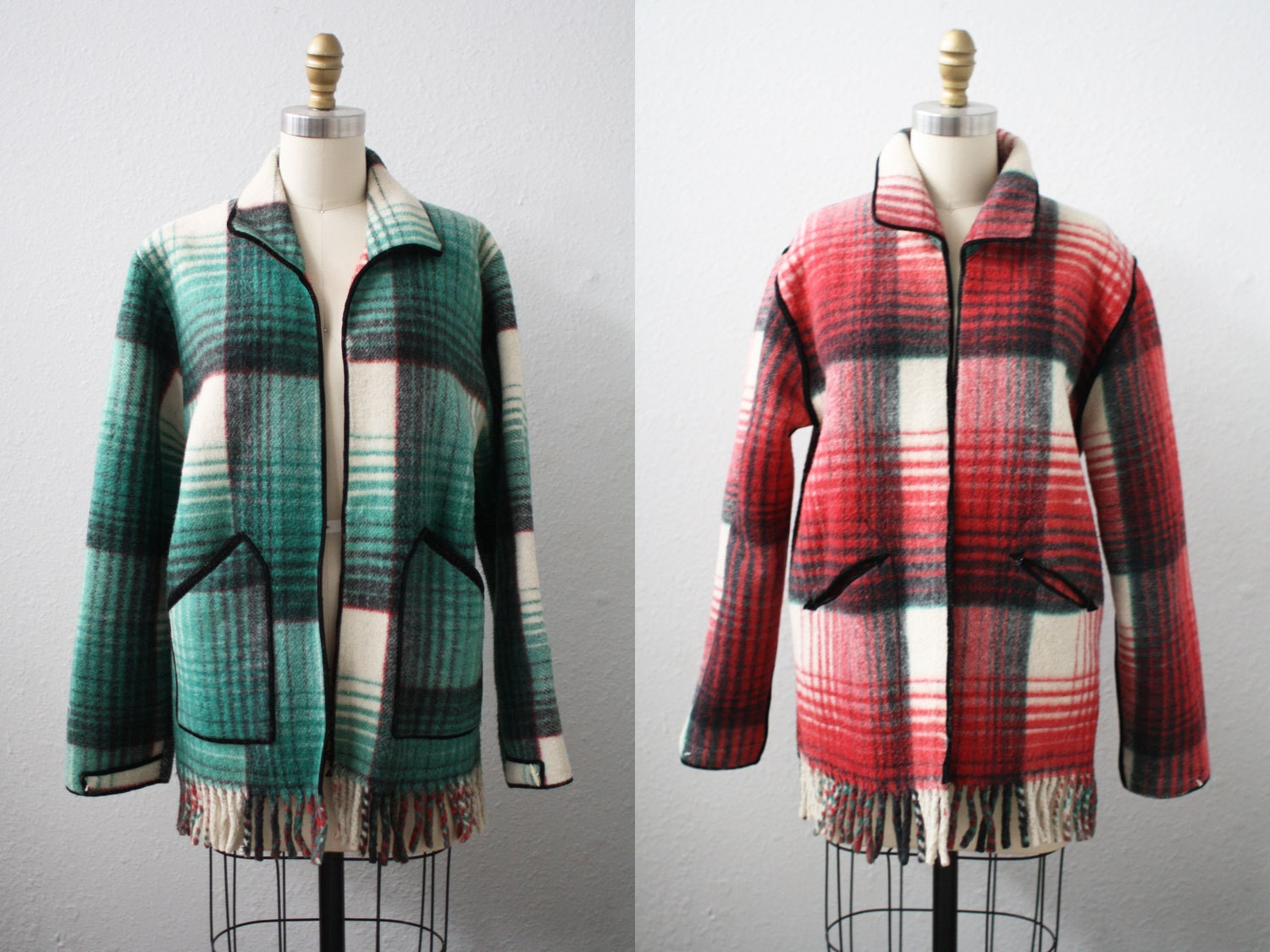 plaid coat / REVERSIBLE PLAID coat / green and red blanket coat
