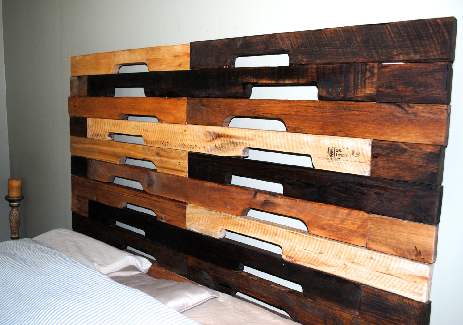 SALE- Rustic Industrial designed Headboard/Reclaimed wood