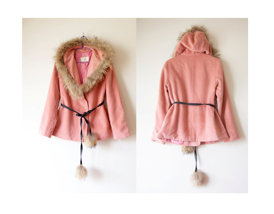 Vintage Salmon Pink Korean Wool Fur coat with Pompom Belt - DimmSummVintage