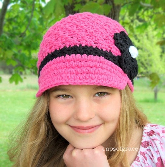 5T- Preteen Daisy Visor Hat - hot pink, black, white, natural cotton