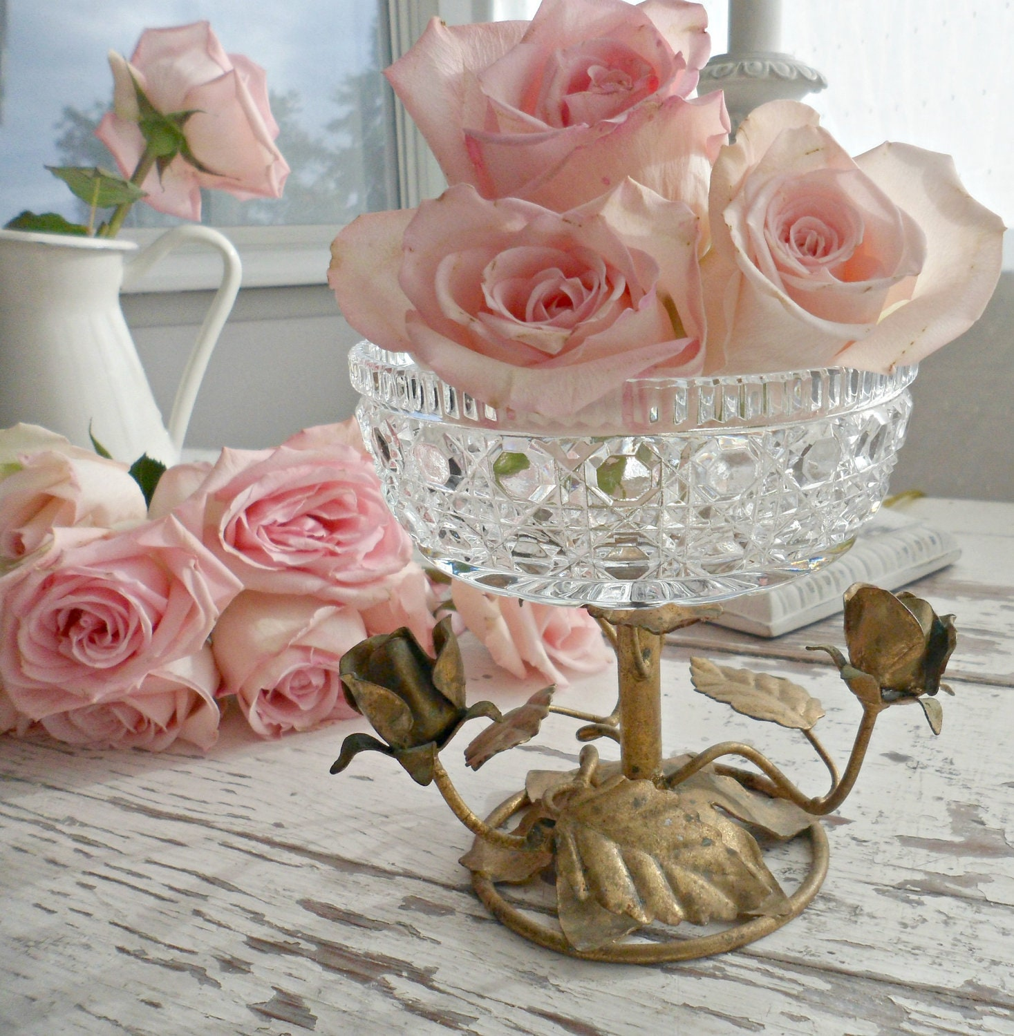Beautiful Vintage Italian Tole Roses Compote Pedestal