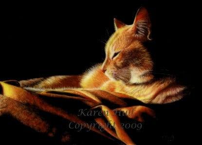 By the Light of the Fire ACEO Signed Print by award winning artist Karen Hull - KarenHull