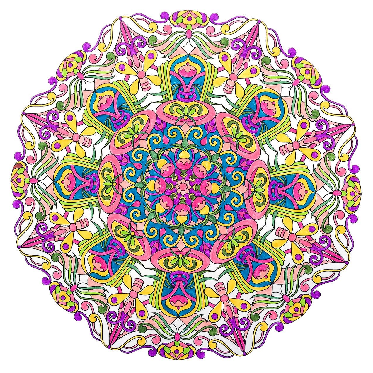 Mandala Speed coloring  Coloring page ArtTherapy  markers and colored pencils