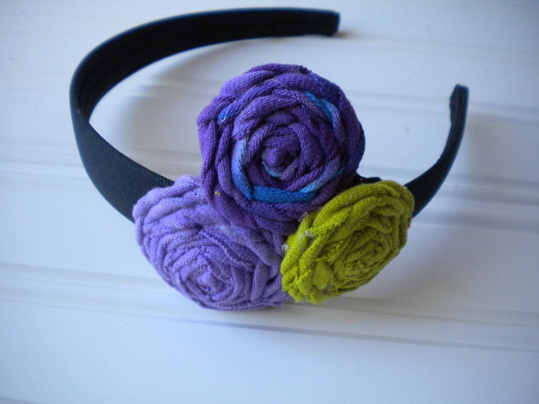 Fabric Rosette Headband - Purple, Tyedye Purple and Blue and Lime Green