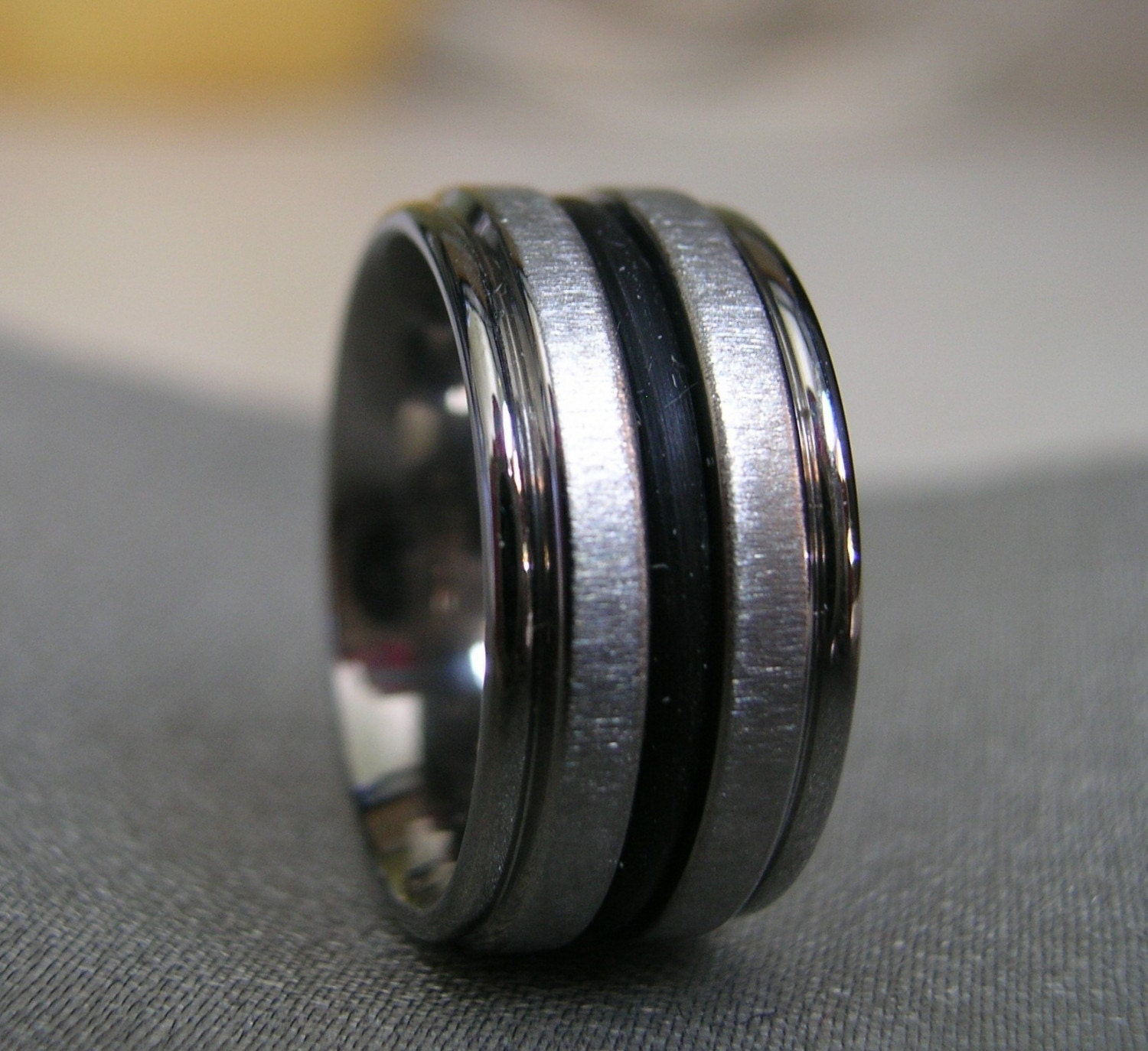titanium black rubber ring or wedding band by titaniumknights