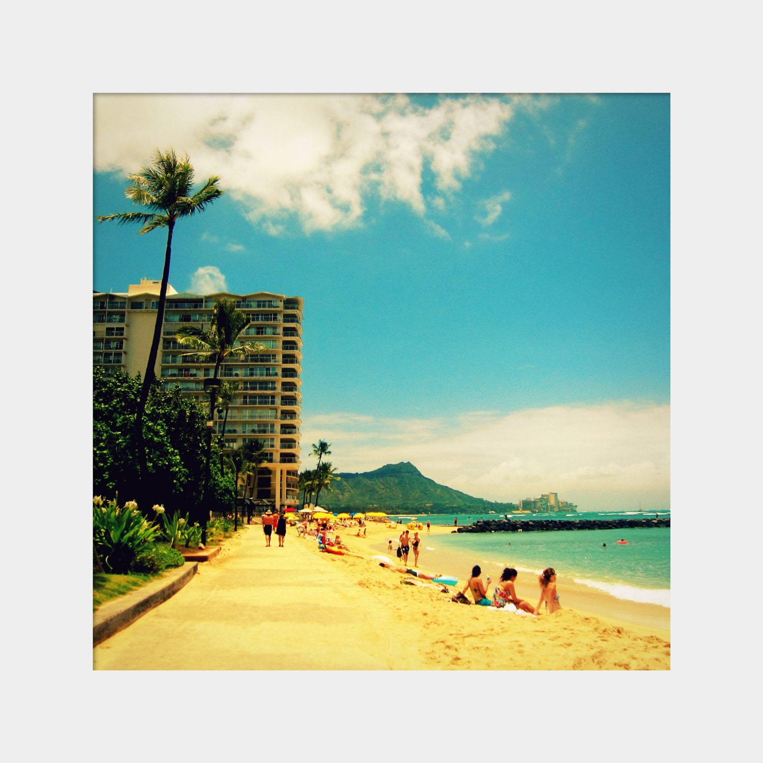 Honolulu Beach: fine art photograph print of Hawaii landscape with beach, hotel, ocean water, Diamondhead Crater, palm tree, sunbathers - UninventedColors