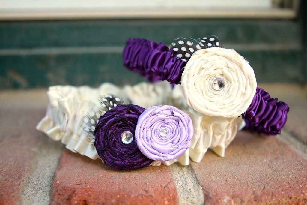 SHADES- Purple and Antique White Ivory Garter Set with Rosettes and Guinea Feathers