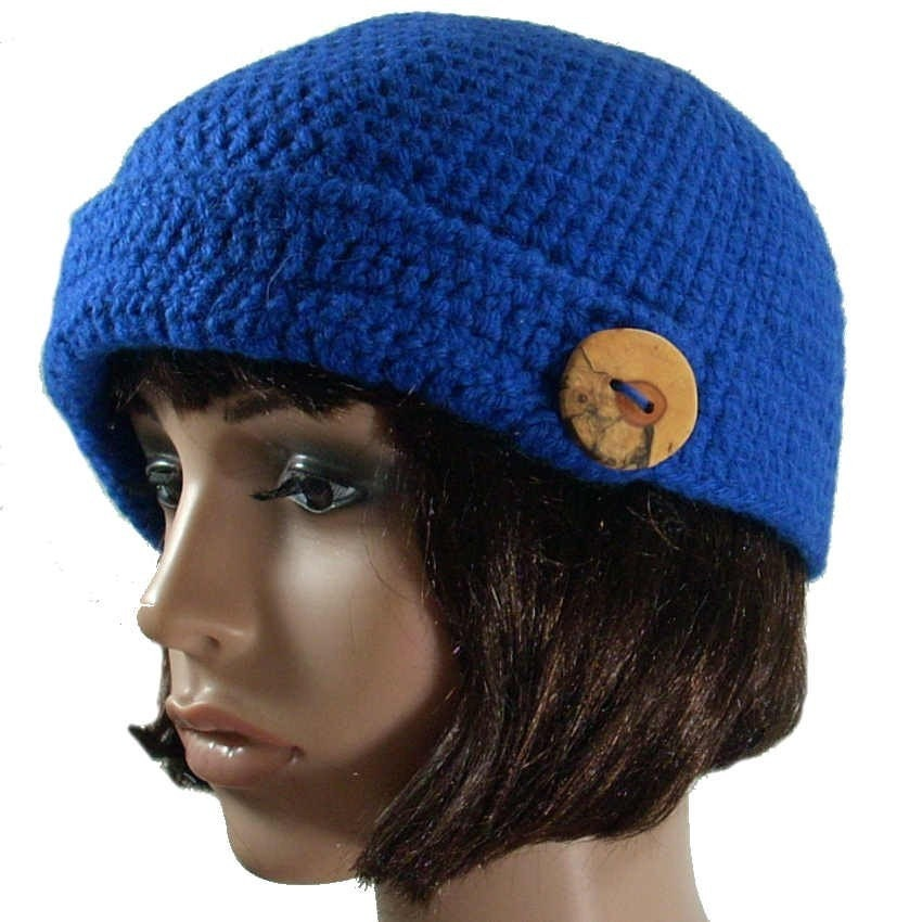 Cobalt Blue Wool Brimmed Deco Cloche Felted by theoldhooker from etsy.com