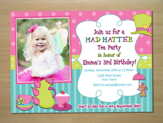 mad hatter tea party birthday invitation by squigglesdesigns