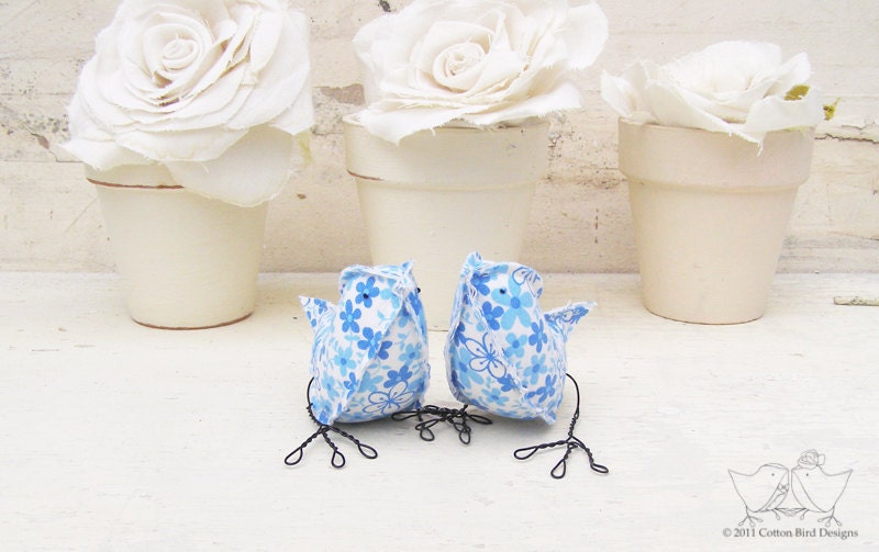 Blue Birds Vintage Fabric Floral Birds