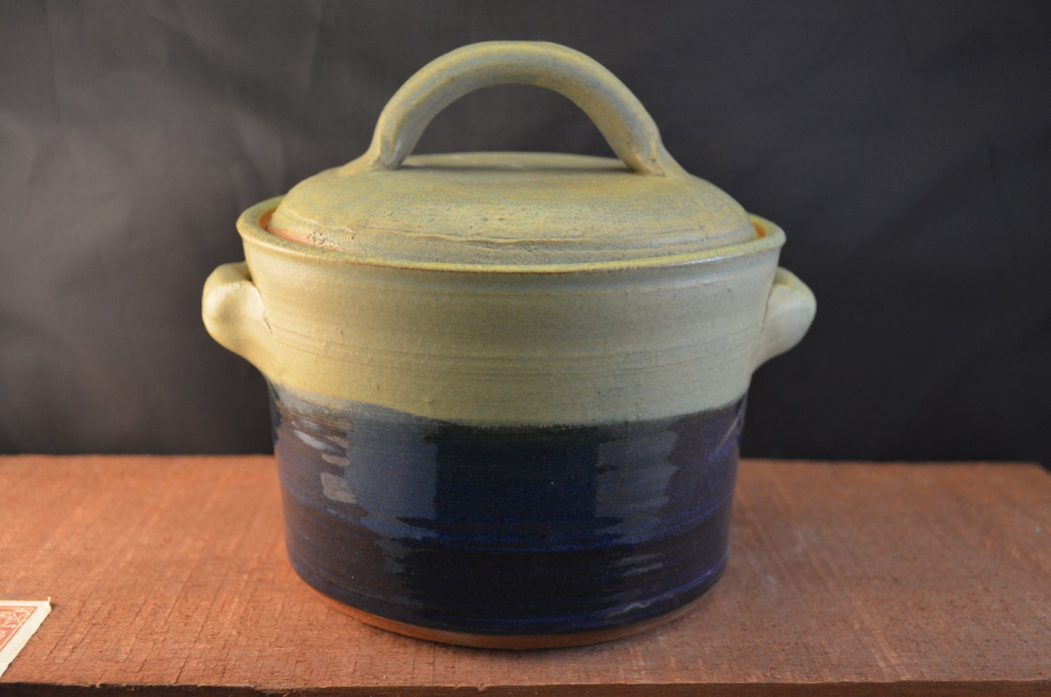 Handmade Ceramic Canister, Cookie Jar, Lidded Kitchen Storage with Handles - Large- Moss Green and Indigo Blue