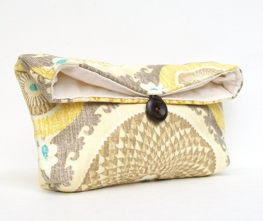 Gold Yellow, Teal, Gray Swirl Clutch Purse, Circle Makeup Bag, Foldover Clutch, Womens Clutch Purse, Bridesmaid Clutch, Ikat Bridesmaid Gift