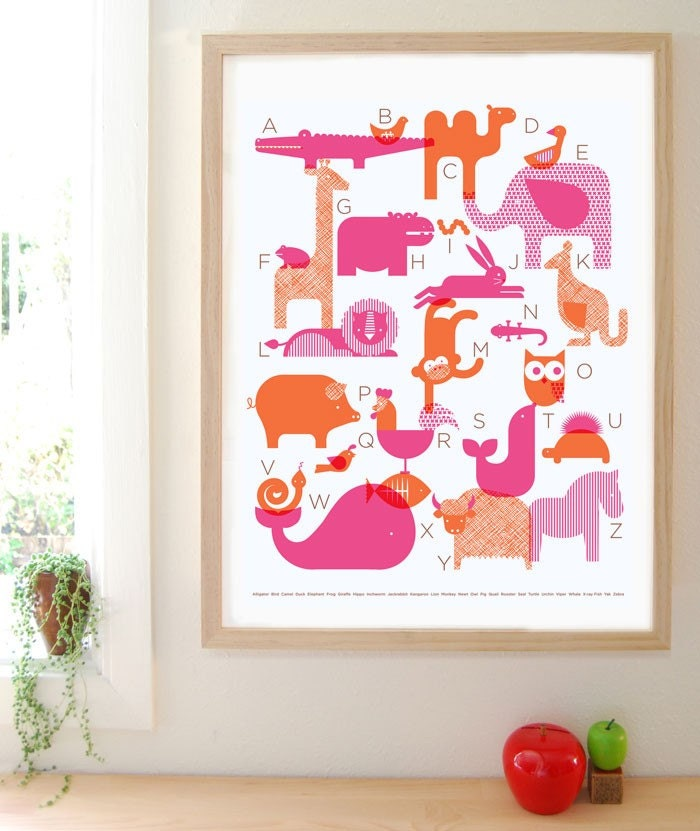Animal Alphabet Silkscreen Poster - PINK