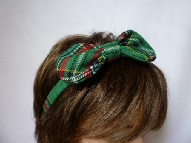 Green Tartan Hair Band