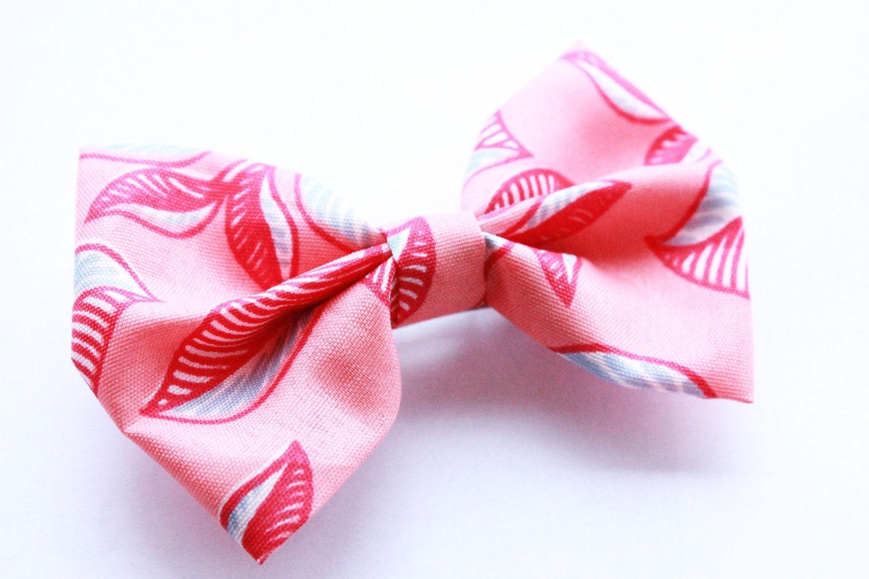 pink leaf tropical hawaiian fabric bow barrette hair clip
