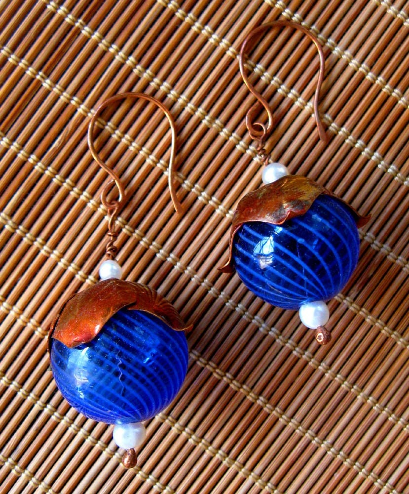 Big Blue World Large Earrings