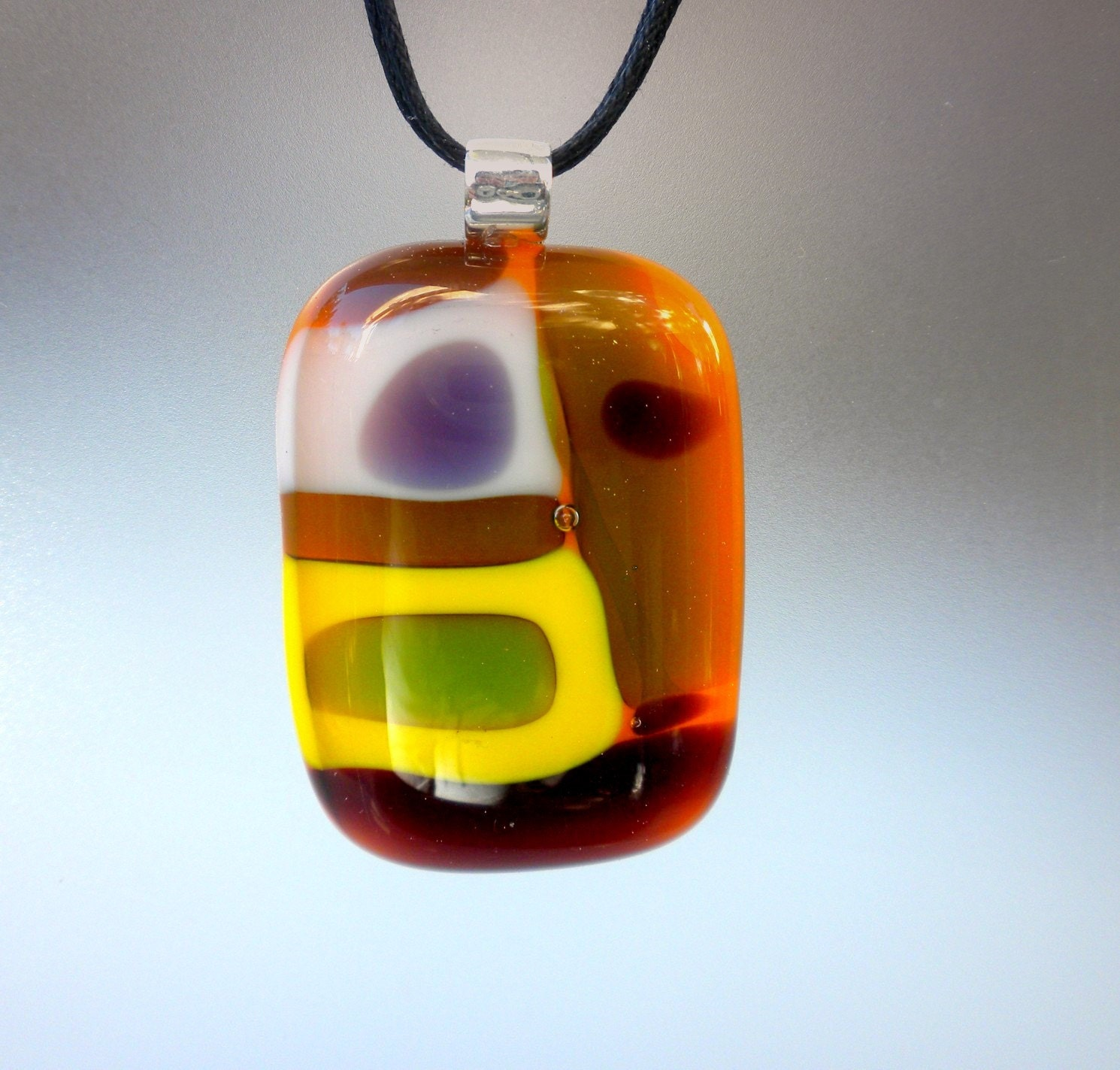 Retro Groovy - handmade fused glass necklace