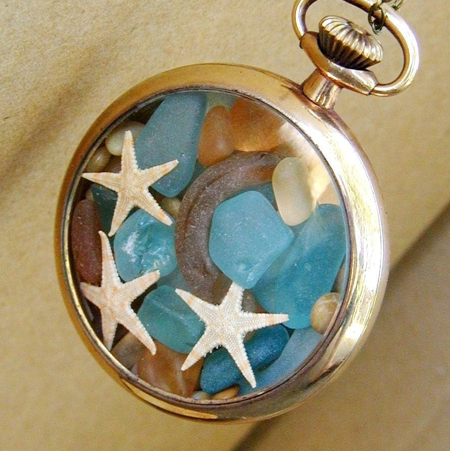 The Moon and the Stars Antique 14k GF Pocket Watch Locket Sea Glass Necklace