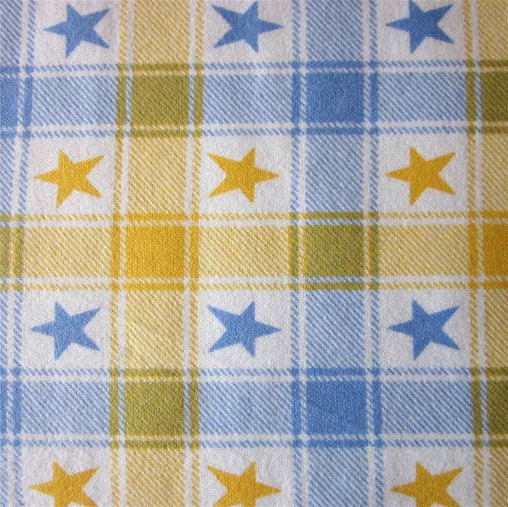 Destash - cotton flannel - 1 yard - yellow and light blue plaid with stars