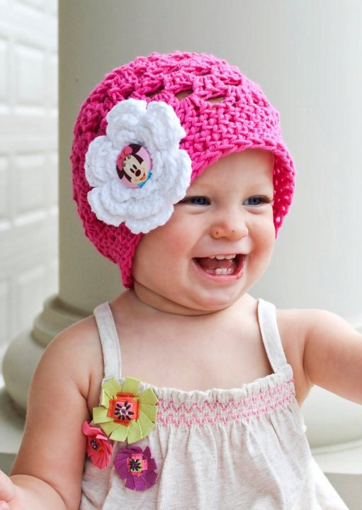 Minnie Mouse Hat Beanie - Hot Pink with White Flower - Baby Toddler Children Sizes Available