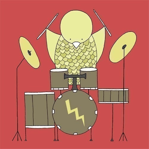 Nursery Art Print (Bird on a Drum Kit)