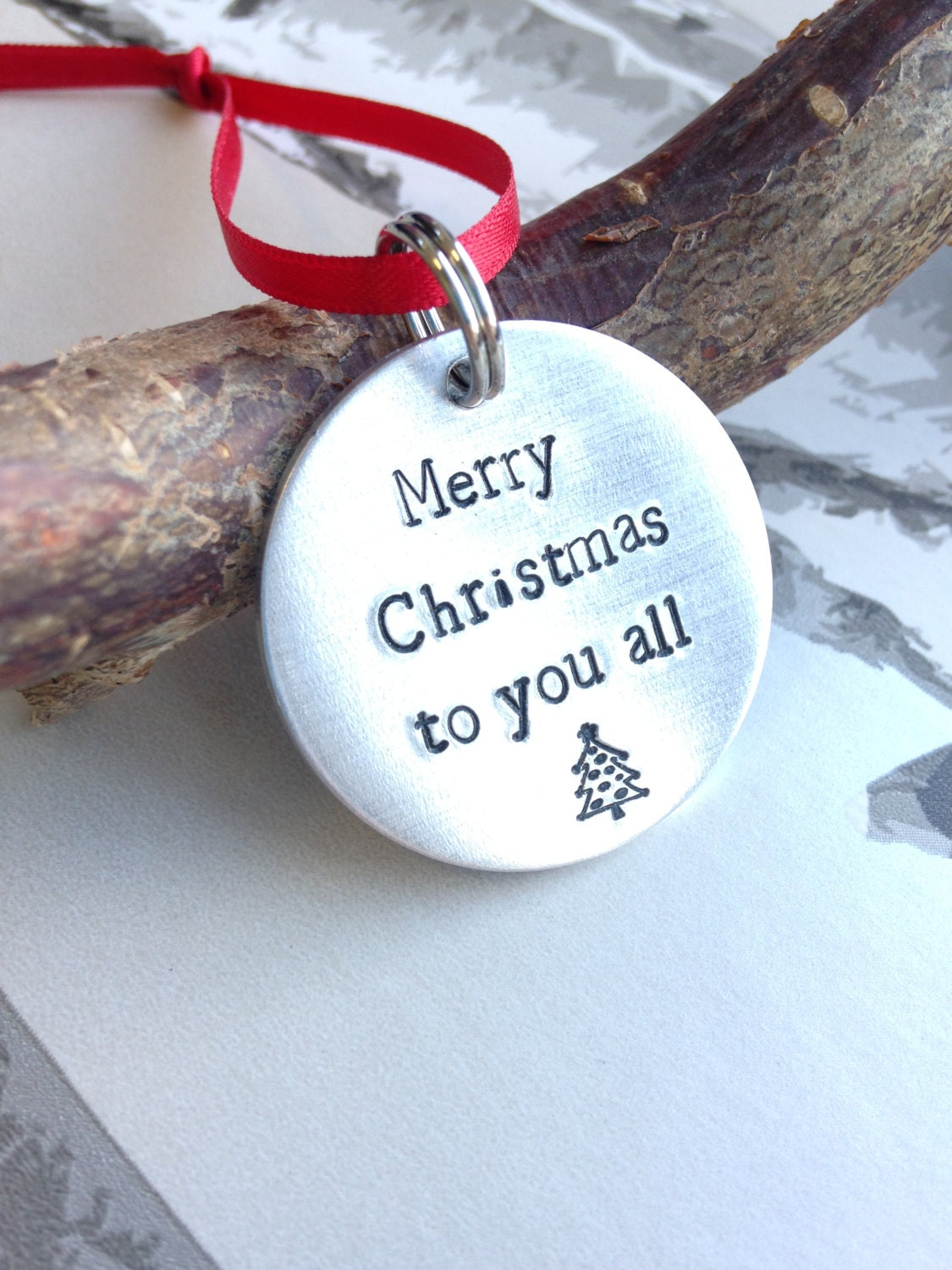 Christmas Tree Decoration  Hand stamped decoration  Tree decoration  Christmas decorations  Christmas Deco  Christmas Ornament